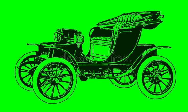Historic two-seat electric motor car in quarter front view. Illustration after a lithography or engraving from the early 19th century. Editable in layers vector illustration