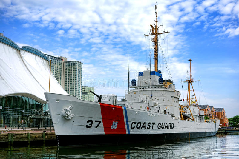 Historic US Coast Guard Cutter Taney in Baltimore royalty free stock images