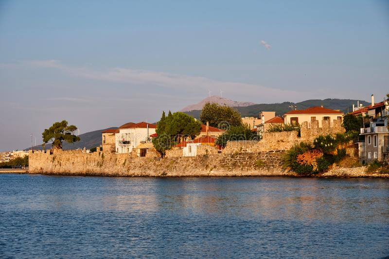 Venetian Fortified Harbour Walls, Nafpaktos, Greece. Historic Venetian stone walls around the small Nafpaktos Ναύπακτος Harbour, on royalty free stock photos