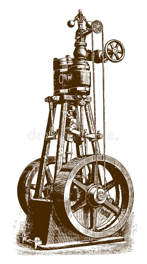 Historical vertical steam engine in side view. After an etching or engraving from the 19th century royalty free illustration