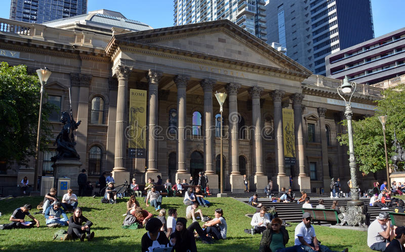 Historic Victoria State Library Building in Downtown Melbourne stock image