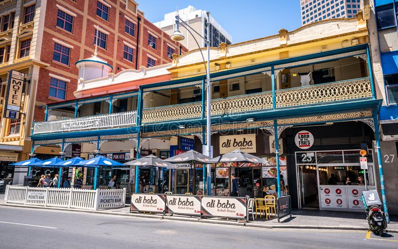 Historic Victorian buildings on Hindley street now turned into restaurants and kebad house in Adelaide SA Australia stock image
