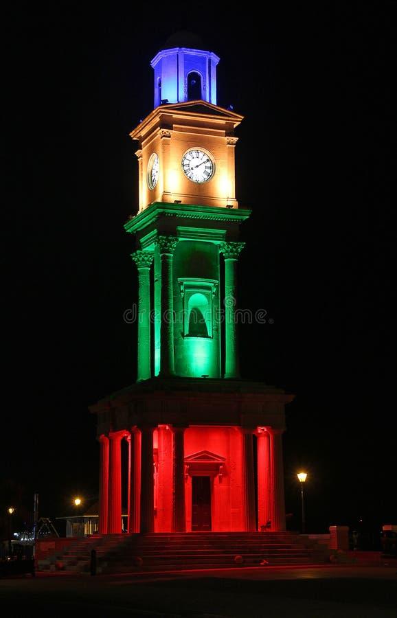 Free Historic Victorian Clock Tower Illuminated Royalty Free Stock Image - 105873326