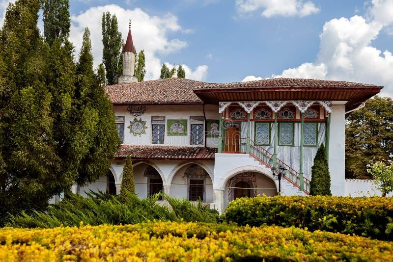 The facade of an ancient Villa with garden views stock images