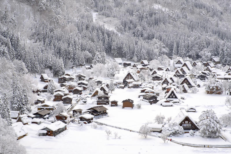 Historic Villages of Shirakawa-go and Gokayama, Japan. Winter in Shirakawa-go, Japan. royalty free stock photo