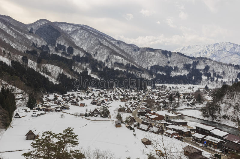 Historic Villages of Shirakawa-go in a snowy day stock photo