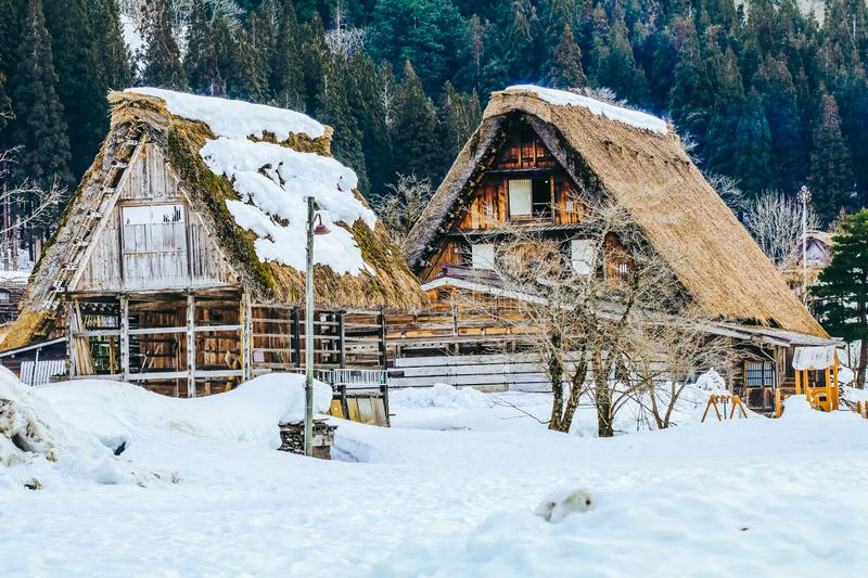 The historic villages of Shirakawa-go in winter. A World Cultural Heritage site in Gifu Prefecture, Japan stock photos