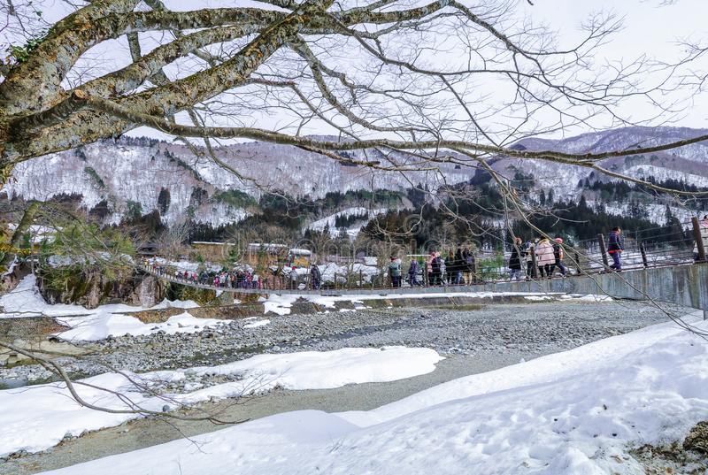 The historic villages of Shirakawa-go in winter , a World Cultural Heritage site in Gifu , Japan stock images