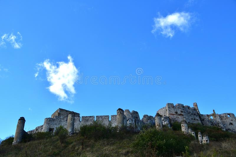 Walls of the ruin of a historic castle in the countryside stock photo