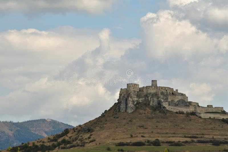 Walls of the ruin of a historic castle in the countryside Spis Slovakia. Historic walls of the ruins of a historic castle Spis Slovakia royalty free stock images