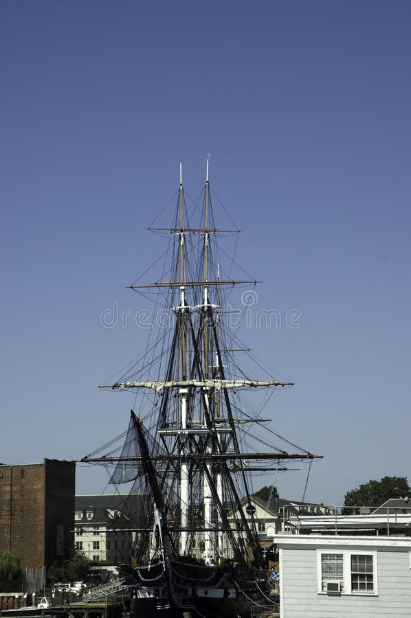 Download Historic war ship stock image. Image of blue, masts, boston - 12937345