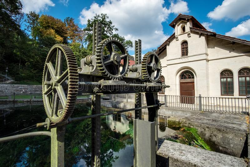 Historic water power station Koenigsbronn. Historic water power station in town Koenigsbronn in Germany in Summer royalty free stock photography