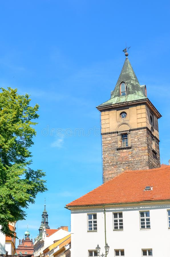 Historic Water Tower, Vodarenska vez, in Plzen, Czech Republic on a sunny day. Pilsen city, Western Bohemia, Czechia, Eastern. Europe. Popular tourist stock image