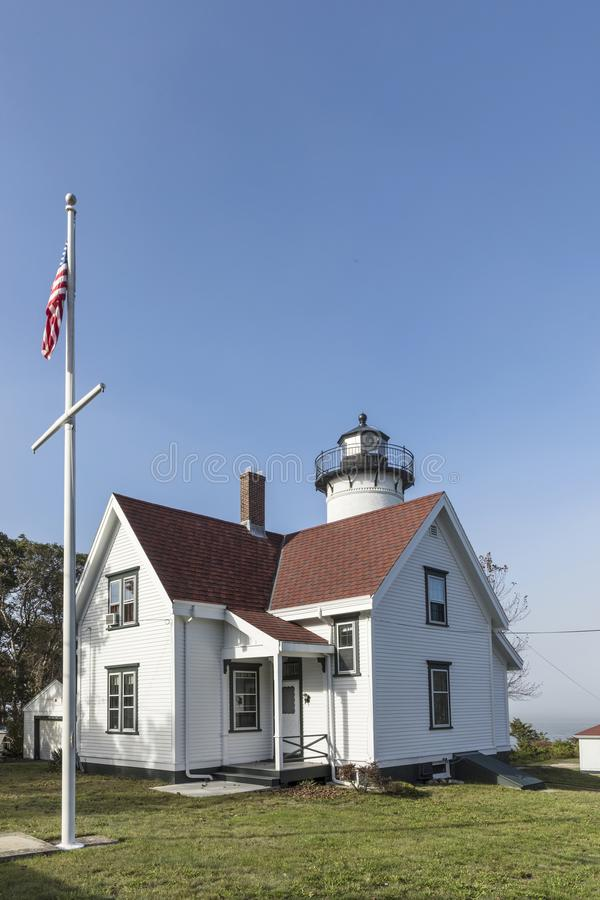 West Chop Lighthouse at the island of Marthas Vineyard. Historic West Chop Lighthouse at the island of Marthas Vineyard stock photography