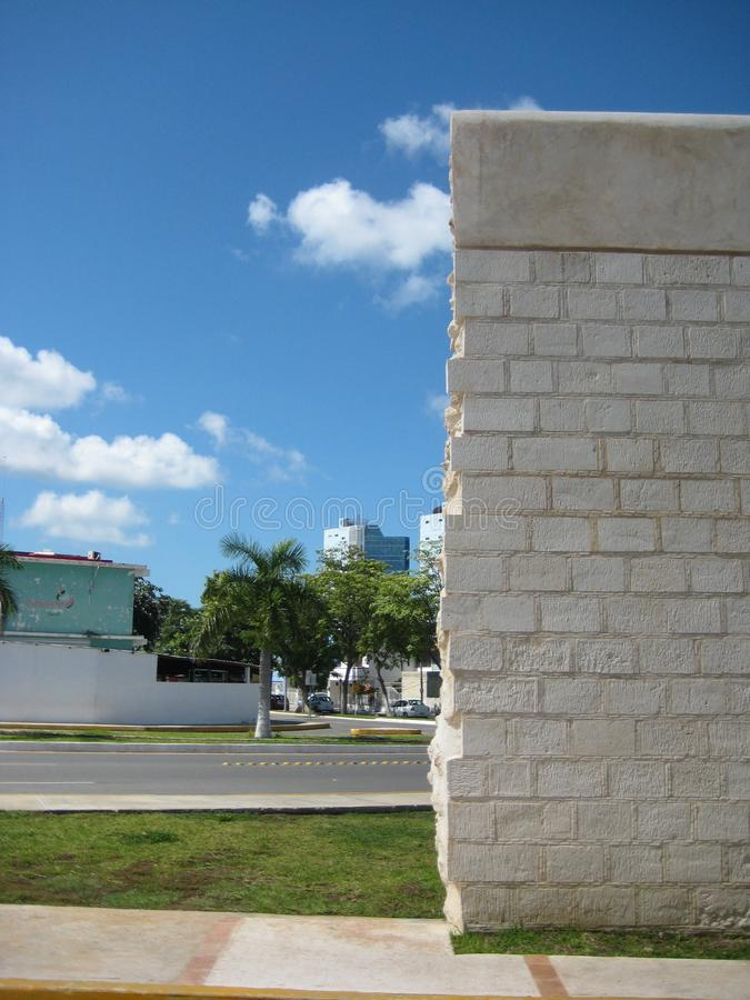 City wall surrounding Old town Campeche Yucatán peninsula Mexico. The historic white lime stone city wall ending where the new city begins. Not afraid of stock photos