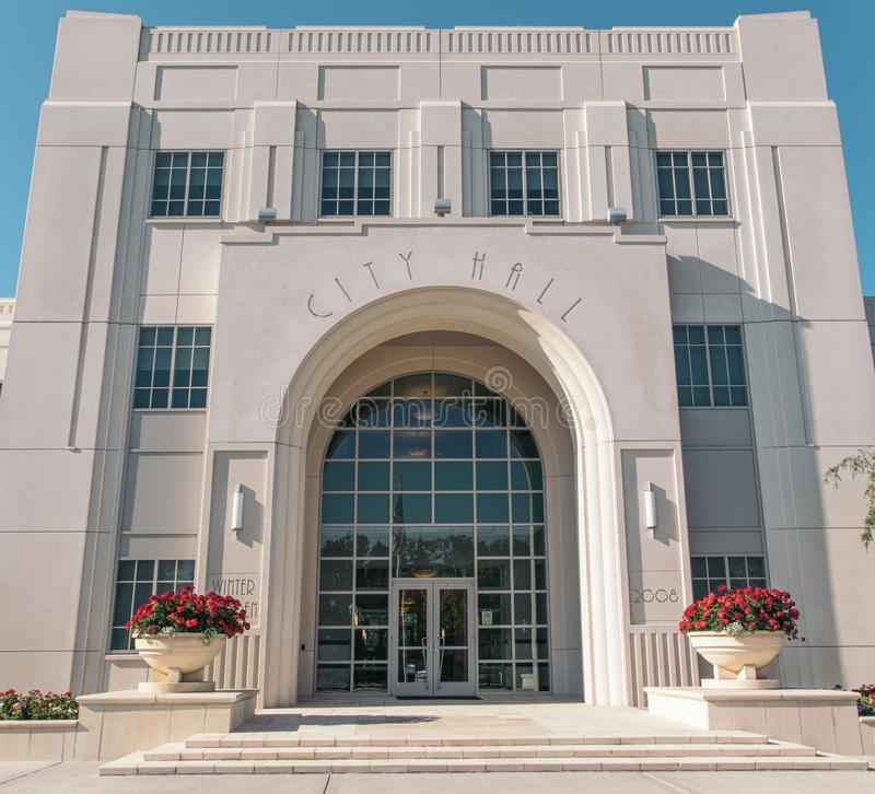 Historic Winter Garden City Hall in Florida. A preserved white three story building made of stone. Historic Winter Garden City Hall in Florida. A white three royalty free stock photography