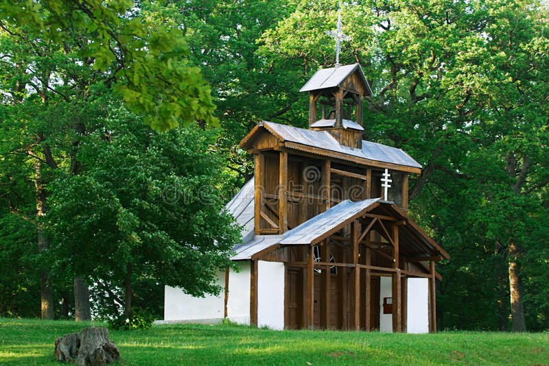 Historic wood chapel Marianska hora. Historic wood chapel . Christian pilgrimage site - Marianska hora, Levoca - Slovakia stock photos