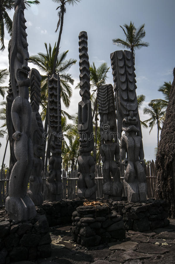 Historic wood carvings, Hawaii, Travel stock photography