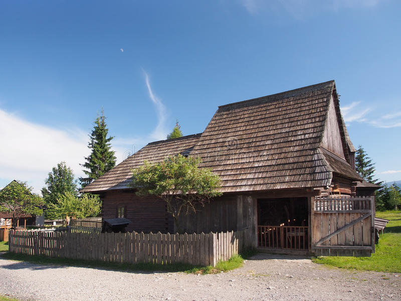 Historic wooden house in Pribylina stock photos