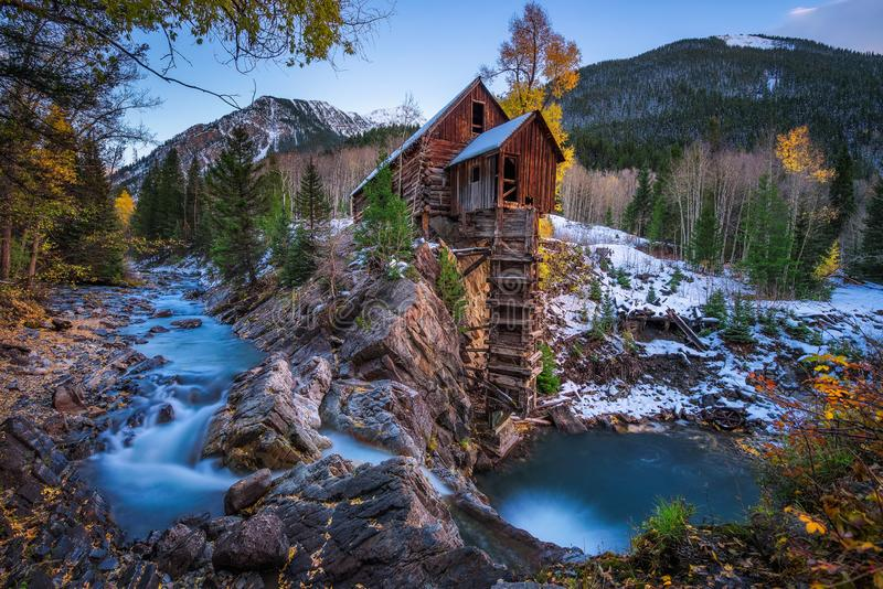 Historic wooden powerhouse called the Crystal Mill in Colorado royalty free stock photo