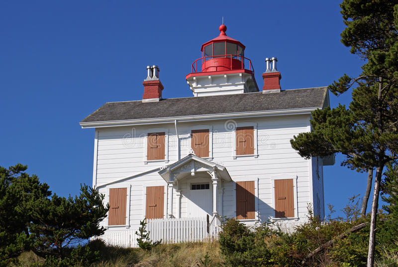 The historic Yaquina Bay Light House. The Historic Yaquina Bay Light House sitting on a cliff above Newport, Oregon's Yaquina Bay where is guided ships for many stock photos