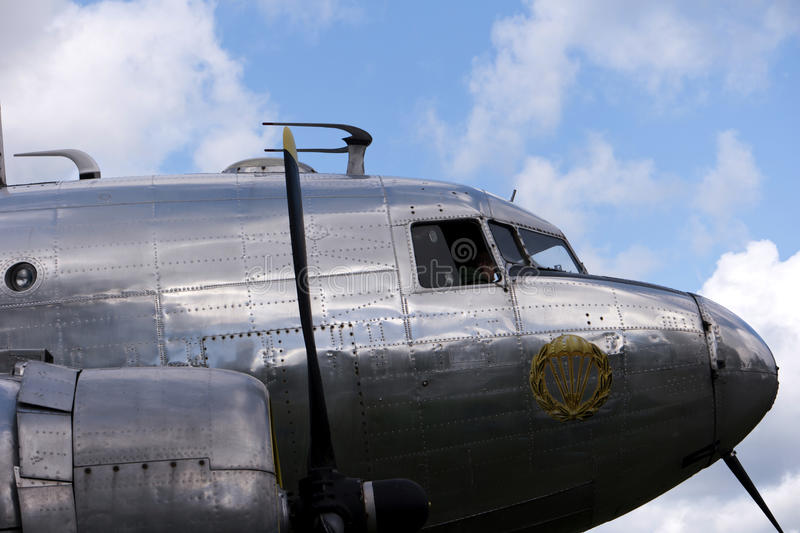 Historical aircraft Douglas DC-3. KARLSBORG, SWEDEN - AUGUST 14, 2016: Historical aircraft Douglas DC-3, one of the most significant transport aircraft ever made stock photography