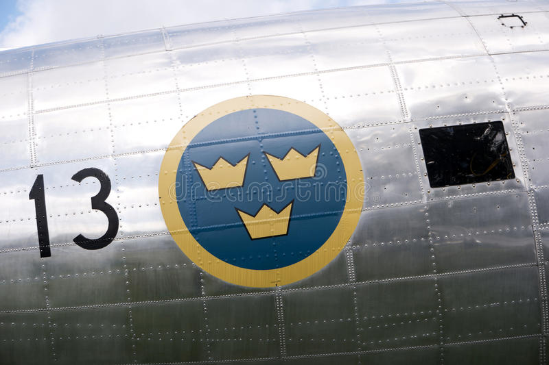 Historical aircraft Douglas DC-3. KARLSBORG, SWEDEN - AUGUST 14, 2016: Historical aircraft Douglas DC-3, one of the most significant transport aircraft ever made royalty free stock photography