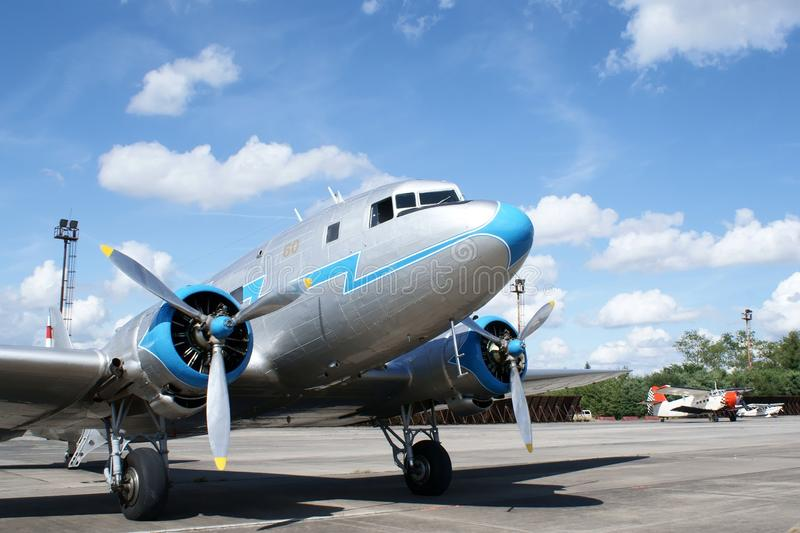 Historical airplane Lisunov LI-2. Historical airplane from ww2 Lisunov LI-2 with airplane Antonov An2 in background stock photography