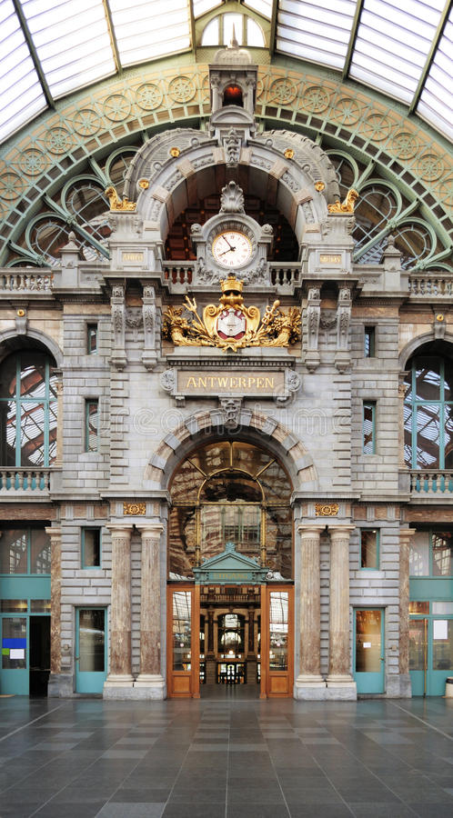 Historical Antwerpen-Centraal railway station stock photography