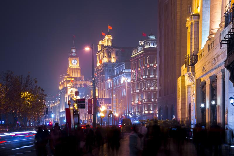 Historical architecture on the bund of Shanghai with City lights royalty free stock photos