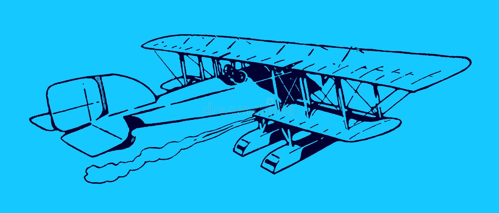 Historical biplane seaplane flying away. Illustration on a blue background after a lithography from the early 20th century. Editable in layers vector illustration