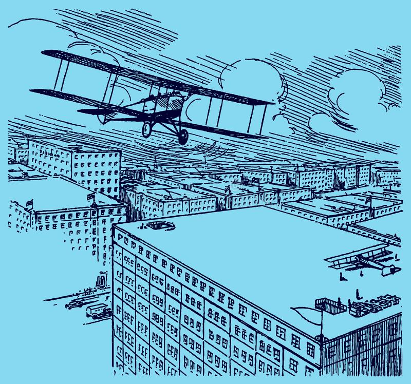 Historical biplane seaplane flying away. Illustration on a blue-grey background after a lithography from the early 20th century. Editable in layers stock illustration