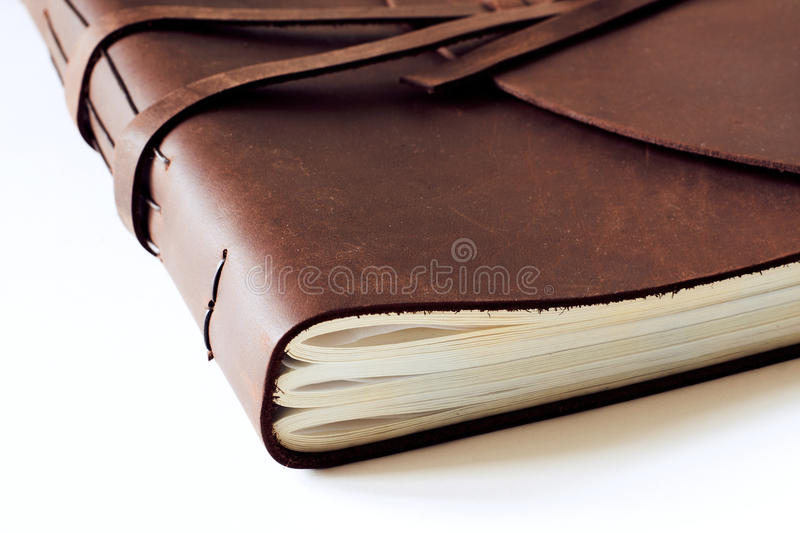 Historical brown old ancient leather book closed stock photos