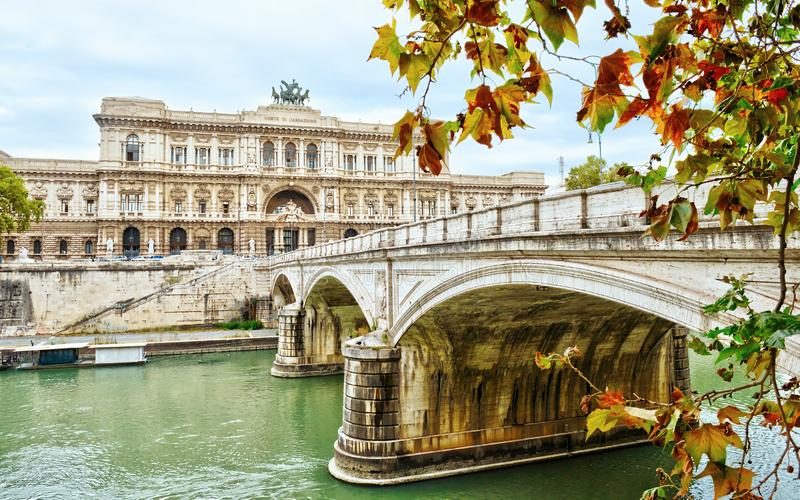 Historical building and architecture details in Rome, Italy: The Supreme Court of Cassation. With bridge stock image