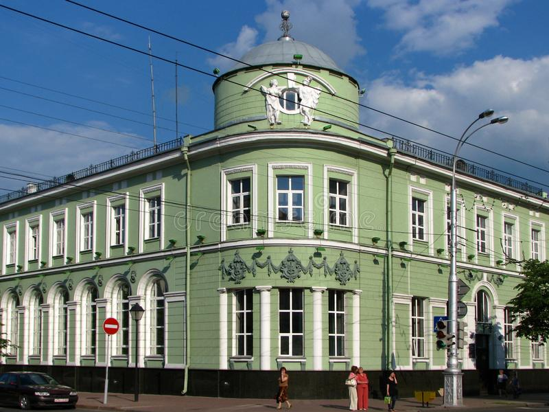 Historical building of city bank street view, Gomel, Belarus stock image