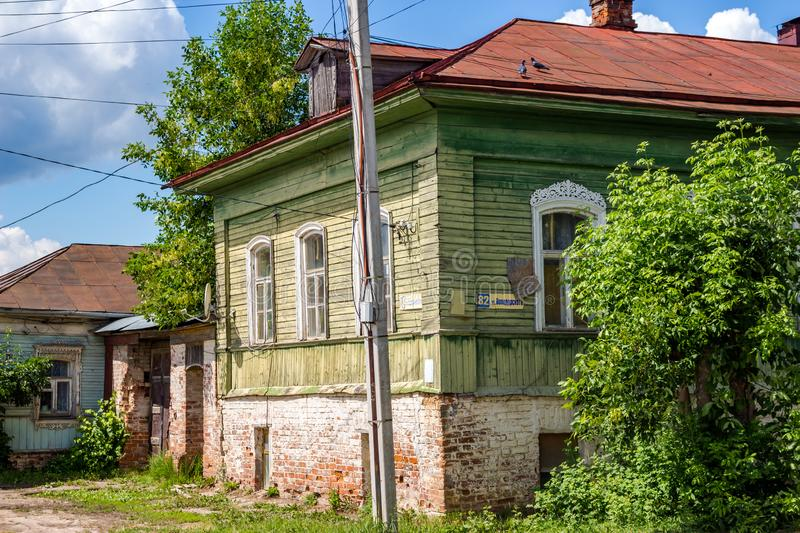 Borovsk, Russia - June 2019: Historical building of the city of Borovsk. Historical building of the city of Borovsk, a two-story house with a brick basement stock photo