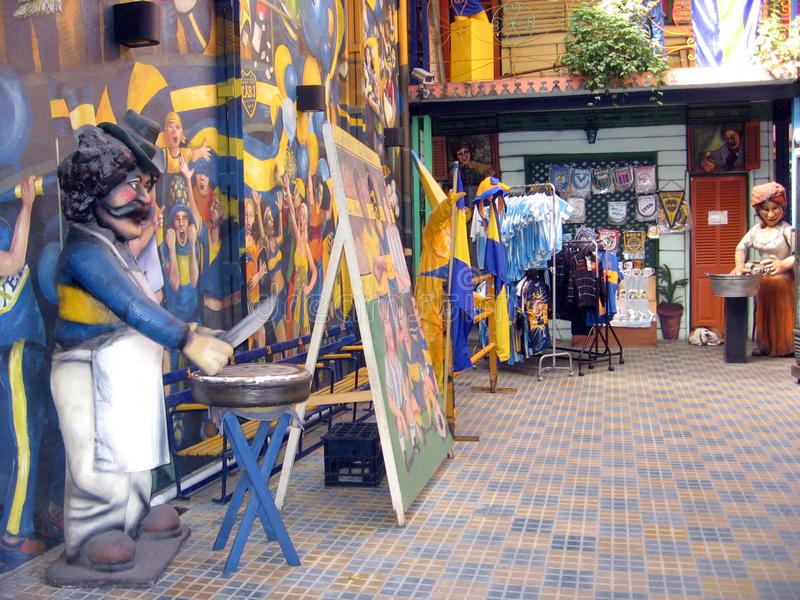 Historical building of La Boca. Historical conventillo in the neighborhood of La Boca in Buenos Aires Argentina. Recreation of immigrants who originally lived in stock photo