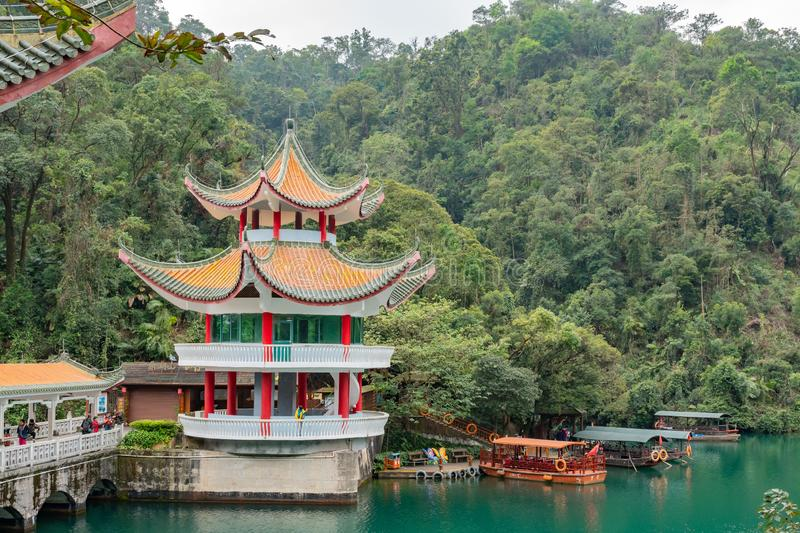 Historical building and nature landscape around Dinghu Mountain National Nature Reserve. Zhaoqing, DEC 30: Historical building and nature landscape around Dinghu stock images