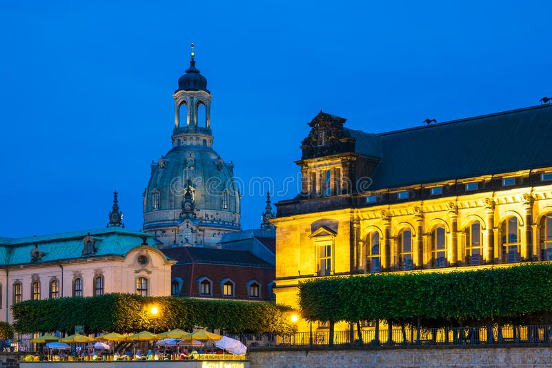 Historical building at night in Dresden, Germany.  royalty free stock photography