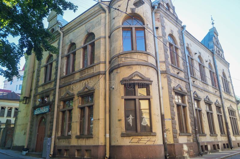 Historical building in old town in Vyborg stock photography