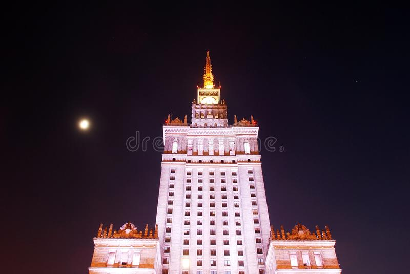 Historical building. The Palace of Culture and Science was built between 1952 and 1955; it was a gift of the Soviet people to the Polish nation, offered by royalty free stock photo