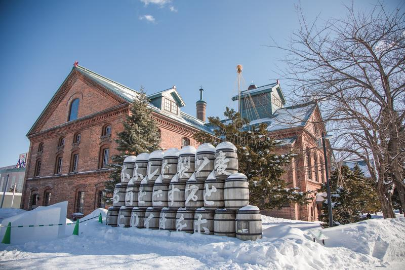 Historical Building of Sapporo Beer Museum in winter, snowy day. 19 jan 2019 - Sapporo, Japan: Historical Building of Sapporo Beer Museum in winter, snowy day stock image