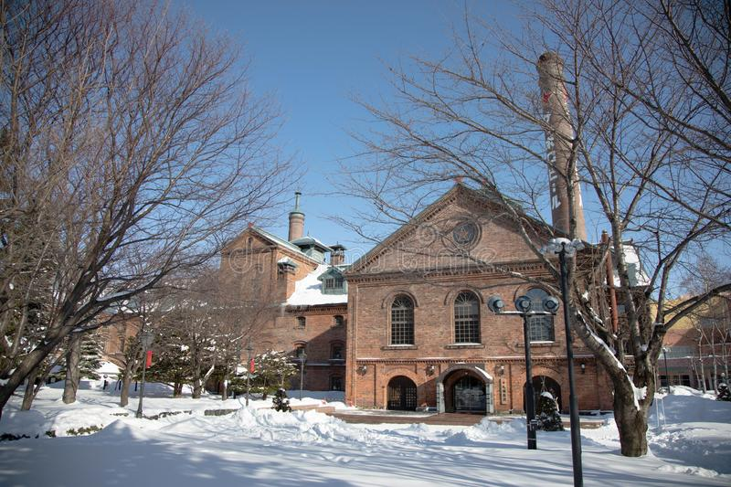 Historical Building of Sapporo Beer Museum in winter, snowy day. 19 jan 2019 - Sapporo, Japan: Historical Building of Sapporo Beer Museum in winter, snowy day royalty free stock photography