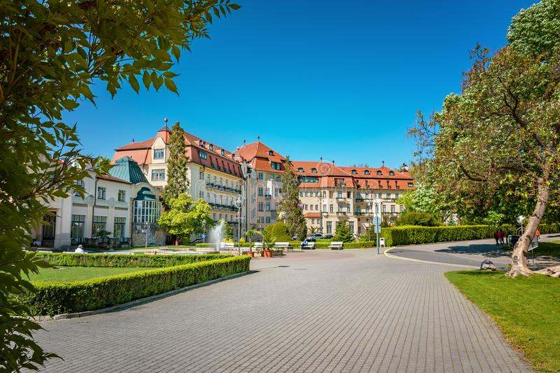 Historical building on spa island in Piestany SLOVAKIA stock photography
