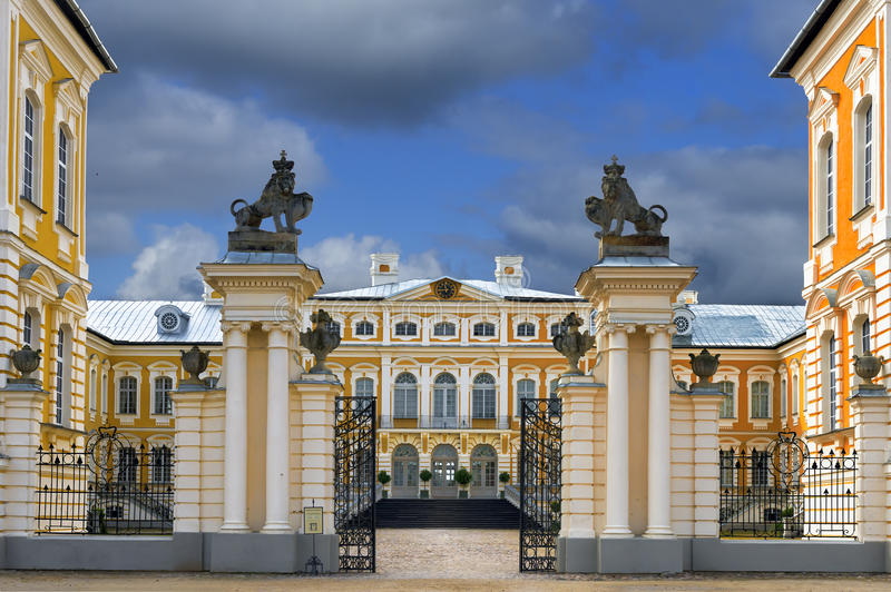Entrance to historical building of Rundale palace, Latvia royalty free stock photo