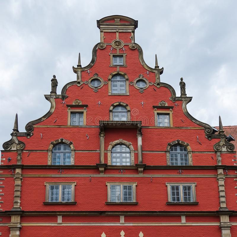 Historical building with tail gable in Wismar. Northern Germany stock image