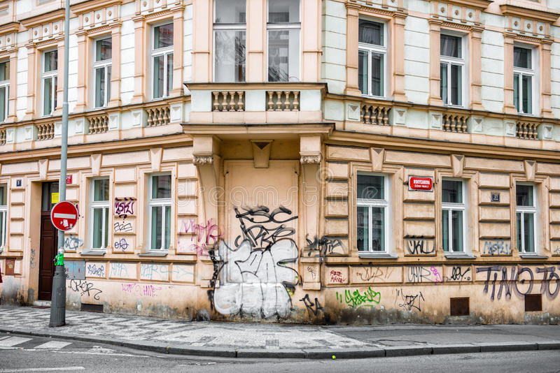 Historical building with walls painted in graffiti.  royalty free stock image