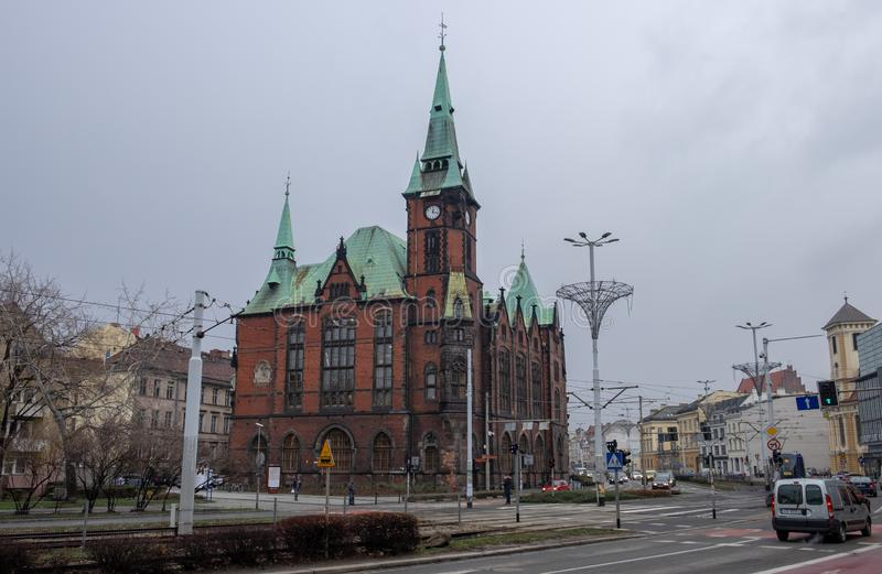 Historical building of Wroclaw University Library at cold winter day. Poland stock photo
