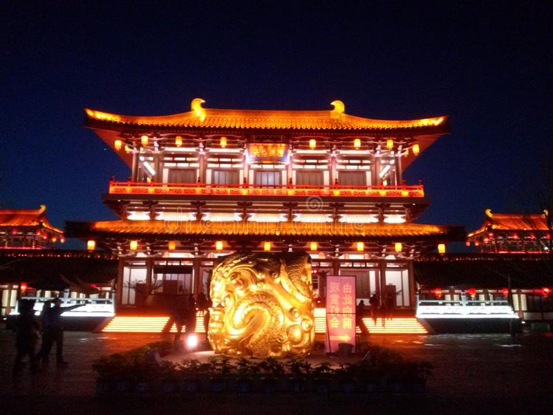 Historical Building in Xian, China. Historical building xian china history culture lantern festival tourism stock photo