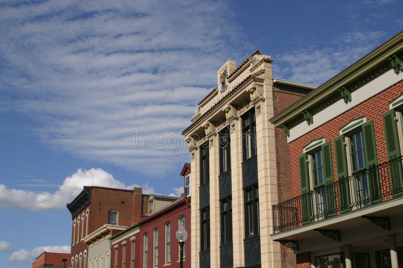 Historical Buildings. Located in the city of St. Charles Missouri, Landmarks of the Midwest stock image